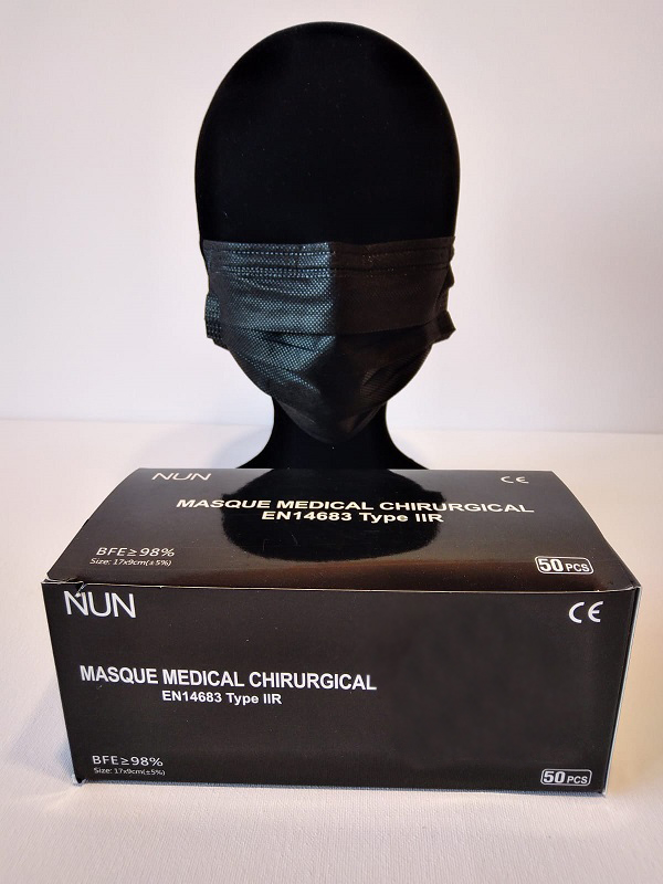 50 Masques Médicaux Chirurgicaux Jetable NoirEN14683 Type IIR BFE98%