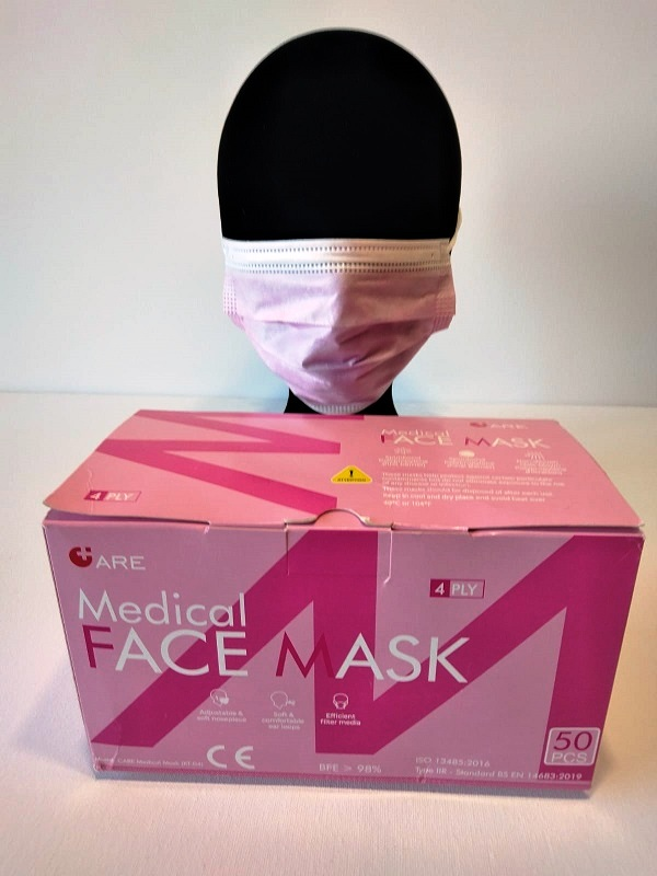 50 Masques Médicaux Chirurgicaux Jetable Rose EN14683 Type IIR BFE98%