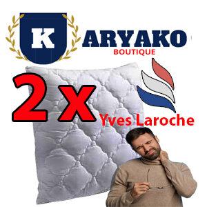 2 x Yves Laroche Oreiller mémoire de Forme Ultra Moelleux 60x60 cm