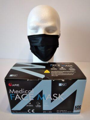 50 Masques Médicaux Chirurgicaux Jetable NoirEN14683 Type IIR BFE 98% 1