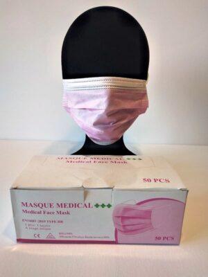 50 Masques Médicaux Chirurgicaux Jetable Rose EN14683 Type IIR BFE98% 1