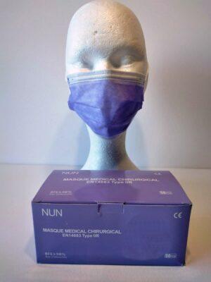 50 Masques Médicaux Chirurgicaux Jetable Violet EN14683 Type IIR BFE98%
