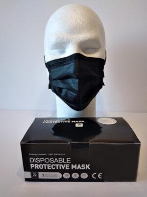 50 Masques Noir 3plis