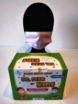 Masque churirgical medical rose pour enfant