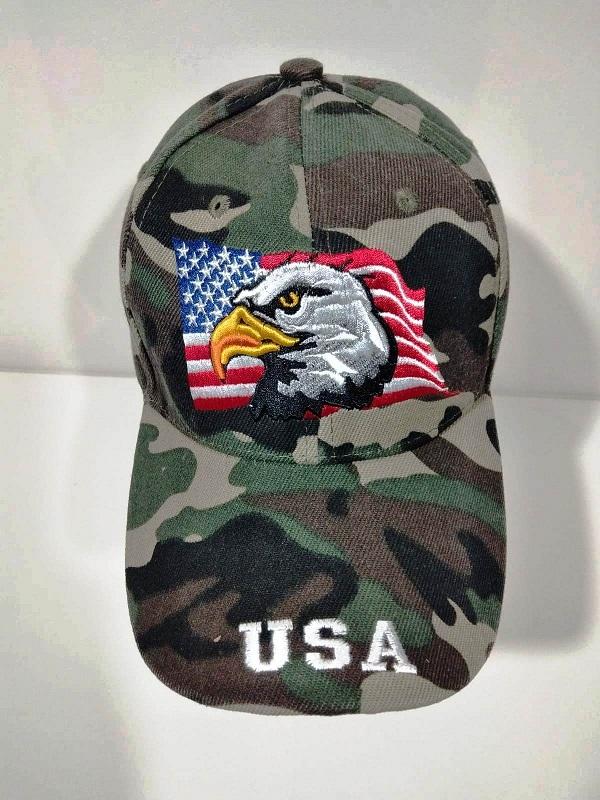 Casquette Baseball Camouflage Woodland Brodee Usa Avec Aigle Sur Drapeau Américain